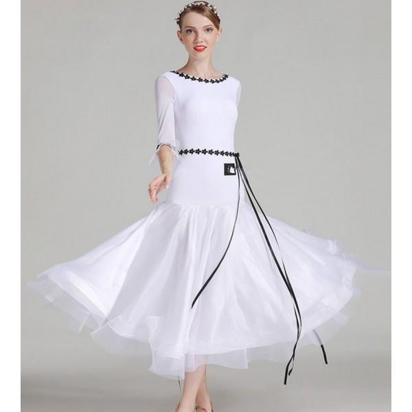 Mint green white women ballroom dance dress standard ballroom dress dance  wear waltz dress fringe spanish flamenco dress tango- Material microfiber  and ... 7c1c67b3f