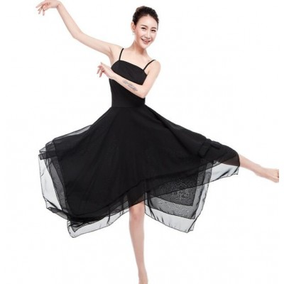 Modern dance ballet dress women's female black red competition long length stage performance gymnastics ballet dance dresses