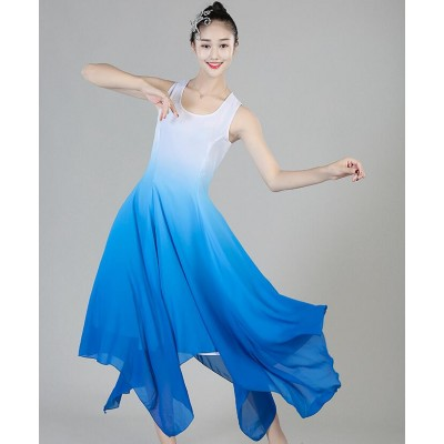 Modern dance ballet dresses women's female lady blue white gradient colored long length competition performance ballet dresses