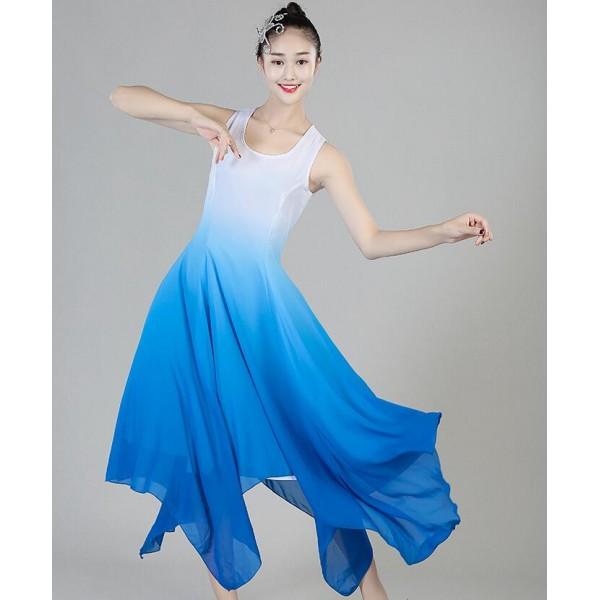 modern dance ballet dresses women s female lady blue white gradient