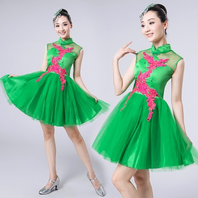 Modern dance dresses for women girls green pink purple stage performance cheer leaders dancers singers cosplay dance outfits