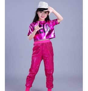 Modern dance hiphop outfits for girls kids children stage red pink gold performance jazz singers cheerleaders dance costumes