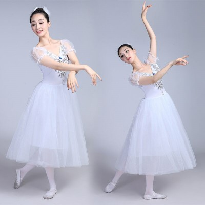 modern dance White turquoise light pink women's stage performance gymnastics ballet dance dresses costumes