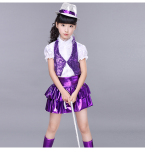 modern Girl's kids jazz dance costumes purple contemporary jazz dance costumes hip hop costume for kids girls stage costumes outfits