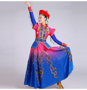Mongolian Royal blue pink Costume Stage Performance Clothing Dance Skirt Gown Mongolian Dance Costume Minority Folk Dance Clothing Apparel