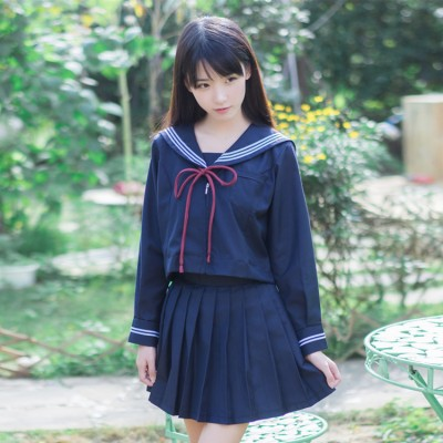 Navy Autumn long sleeves Japanese Korean school uniforms student performance girl cute sailor tops skirt full set cosplay costume outfits
