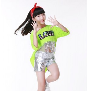 Neon green silver jazz dance cheerleader HIP HOP costume girl school costume dance costume girl modern dance costumes for kids