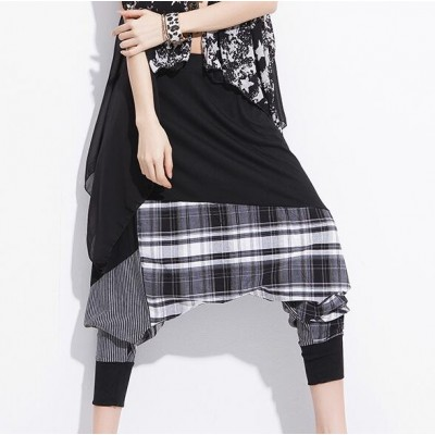New Fashion girl's Casual Women singers Baggy Harem Pants Hippie Rope Plaid Patchwork Female jazz Hip Hop Dance Sweatpants