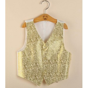 New Kids gold silver Performance Costume Vest for Boys Brand Flower Boys Formal Wedding Waistcoat Kids Party Dancing Waistcoat