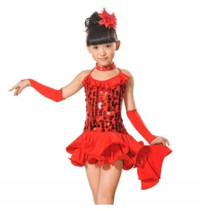 New  turquoise black red yellow Performance Stage Sequined Jazz Ballet Latin Girls Kids Children Dancewear Dance Tutu Dresses