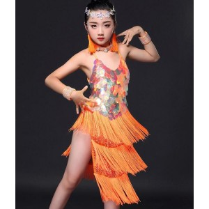 Orange latin dresses girl's kids children competition stage performance salsa ballroom fringes dance dresses costumes
