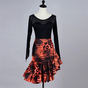 Orange leopard women's lady fashion stage performance professional latin salsa cha cha dance dresses