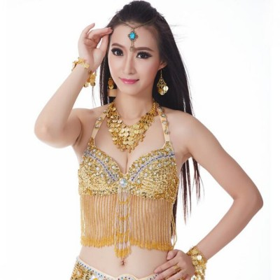 Performance  Women Dancewear Professional Oriental Beads Costume Belly Dance Bra Belt Sujetador de danza del vientre
