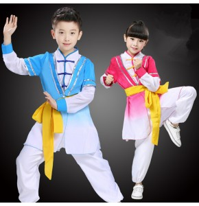 Pink blue Children Adult Girl Taekwondo Wushu Costume Kimono Judo Clothing Chinese Kung Fu Suit Tai Chi Clothing Martial Art Uniform