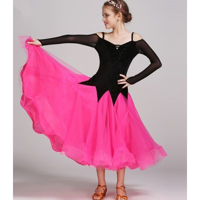 pink green girls modern dance costumes kids ballroom dance dresses standard ballroom dancing clothes Competition standard dance dress
