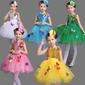 Pink green yellow white turquoise modern dance girl's children school competition jazz singers chorus princess performance dresses