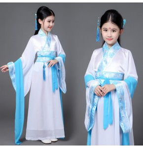 Pink purple blue turquoise  girls kids children stage performance anime ancient chinese classical folk fairy princess cosplay dancing dresses