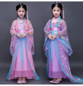 Pink purple kids traditional chinese dance costumes children girls sleeve fan hanfu dress child clothing ancient chinese dance costume