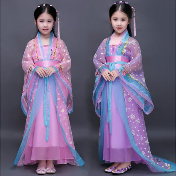 Pink purple kids traditional chinese dance costumes ...