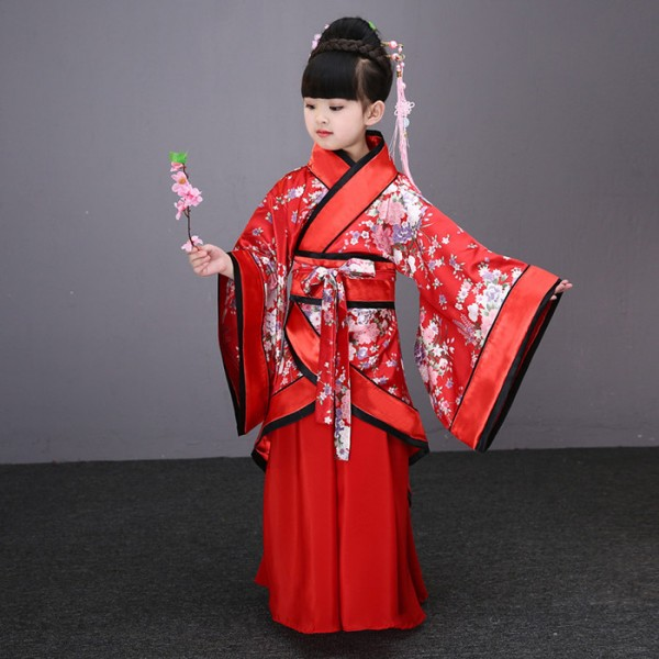 pink red blue children traditional ancient chinese