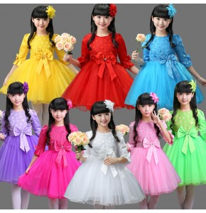 Pink white green red purple yellow bowknot girl's children flowers girls princess modern dance singers model show performance dance dresses