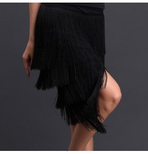 Professional Latin Dance Skirt Women Black red Competition Practice Ballroom Tango Skirt Tassel Fringe Latin Salsa Dance Skirt