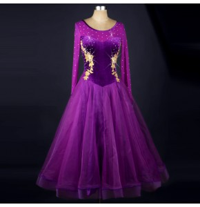 Purple black long sleeves see through back competition performance ballroom tango waltz dance dresses