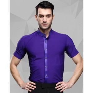 Purple violet stand collar short sleeves men's male competition performance ballroom tango waltz latin dance shirts tops