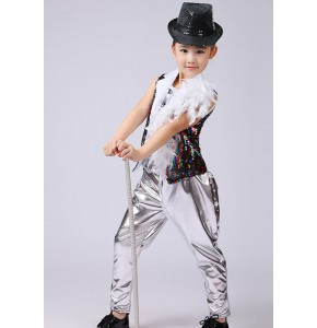 Rainbow Children Shelf Drummer Boy Hip-hop Sequins Costume Jazz Dance Stage Performance Clothing Children's Modern Dance Performance