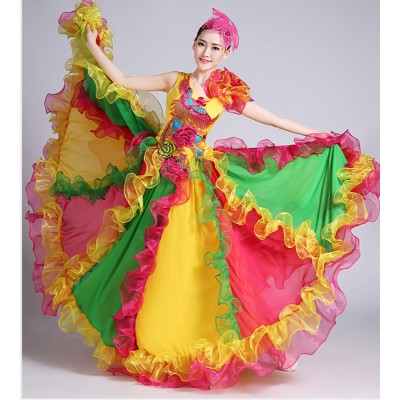 10665905d Rainbow colored flamenco skirt Chorus party performance Spanish Senorita  Flamenco Dancer Fancy Dress Costume /Spanish