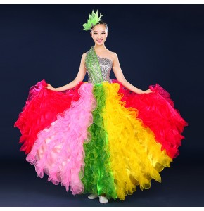 Rainbow colorful dance costume wear Spanish bull dance dress expansion skirt costume stage costumes
