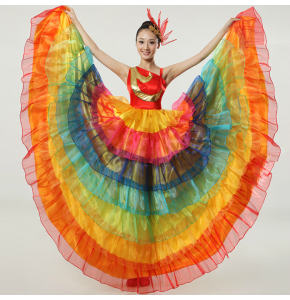 Rainbow colorful dance costume wear Spanish flamenco bull dance dress expansion skirt