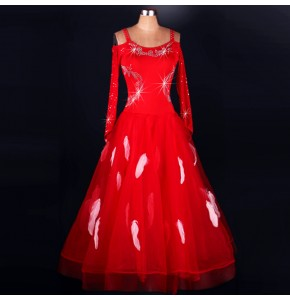 Red black feather competition sexy women long sleeves rhinestones professional ballroom tango waltz dancing dresses outfits