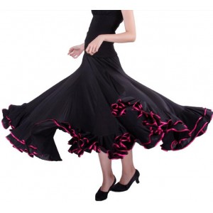 Red black long length full skirted women's ladies ballroom tango dancing skirts
