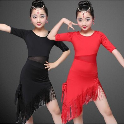 Red black Modern Girl Latin Dance Dress For Girls Cha Cha Dress Ballroom Dancing Dress Girl Competition Dancewear Kids Kid Dance Costumes