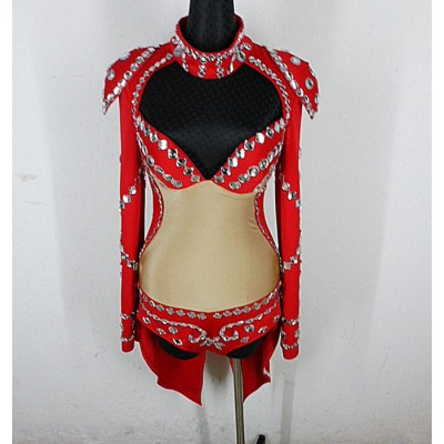red black One Piece Stage Performance Wear Clubwear Style High Neck Fashion Singer Bodysuits Cotton Fabric Jazz Dance Party Clothes