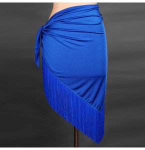 Red black royal blue fuchsia patchwork Women female performance practice Latin chacha salsa dance Wrap Skirt Latin Dance Fringe Skirts