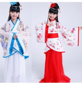 Red blue children Chinese folk dance dresses ancient classical dancers stage performance traditional princess kimono robes