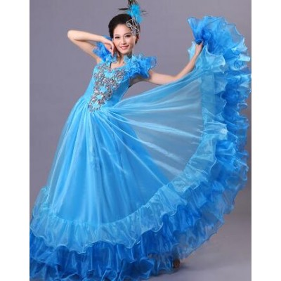Red blue Female Spanish Bullfight Belly Dance Dress Skirt Long robe Flamenco Skirts Spanish flamenco Dresses For Women