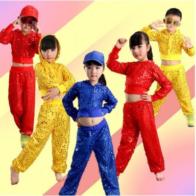 Red  blue yellow Boy Jazz Dance For Girls Jazz Dance Costumes for Girl Kids Hip Hop Set Long Sleeve Performance Sequins Jazz Costumes For Boys
