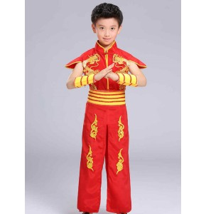 Red boy's dragon drummer performance costumes kids children stage performance competition martial arts dancing robes
