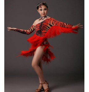 Red brown tiger printed fringes rhinestones girls kids children competition latin dance dresses