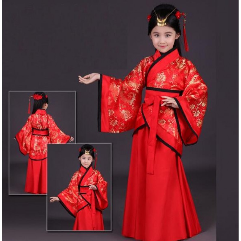 2946a326155 red children traditional ancient chinese folk clothing for girls hanfu  dance costumes folk costume kids tang