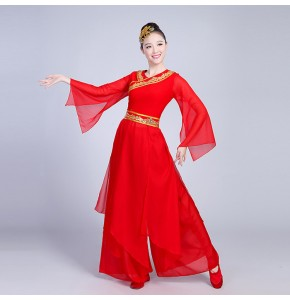 Red Chinese folk dance costumes women's female competition stage performance ancient yangko fan dancing dresses costumes