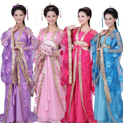 RED Chinese Traditional Women Hanfu Dress Chinese Fairy Dresses dance costume Hanfu Clothing Tang Dynasty Ancient Costume