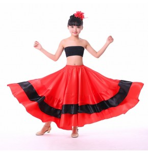 Red flamenco skirts for girls kids Spanish folk bull dance skirts 360,540.720