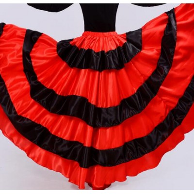 Red flamenco skirts women's Brazil dance costume spanish performance use gypsy robe de Flamenco skirts Belly dance dress red Skirts