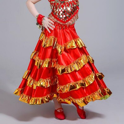 Red Flamenco Spanish folk dance bull dance skirts for girls children kids stage performance competition ballroom skirt