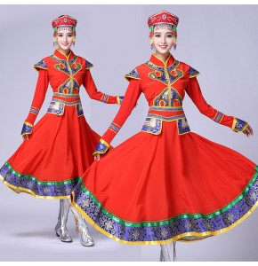 Red folk dance cosplay stage performance Dance clothes Costume Mongolian gowns dress Women clothing Mongolia robes clothes