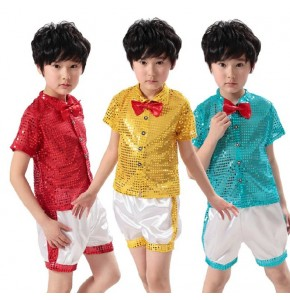 Red gold turquoise Children Paillette Modern Sequin Boys Dance Costume Jazz Dance Costume Groups chorus clothing Boys Hosted Suits